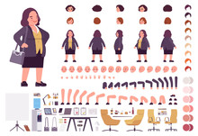 Wall Mural - Chubby heavy kind businesswoman with round belly construction set. Overweight, plus size formal wear, fat body shape creation elements to build own design. Cartoon flat style infographic illustration