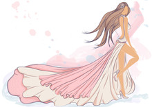 Wall Mural - Color vector illustration of a silhouette of a girl in a long evening dress with long hair. Drawing on a background imitating a watercolor
