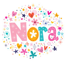 Wall Mural - Nora female name design decorative lettering type