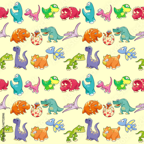 Wall Mural - Group of funny dinosaurs with background.