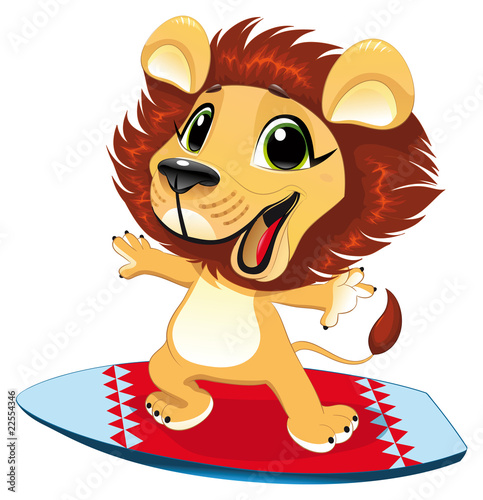 Wall Mural - Baby lion with surf. Funny cartoon and vector character