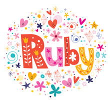 Wall Mural - Ruby female name decorative lettering type design