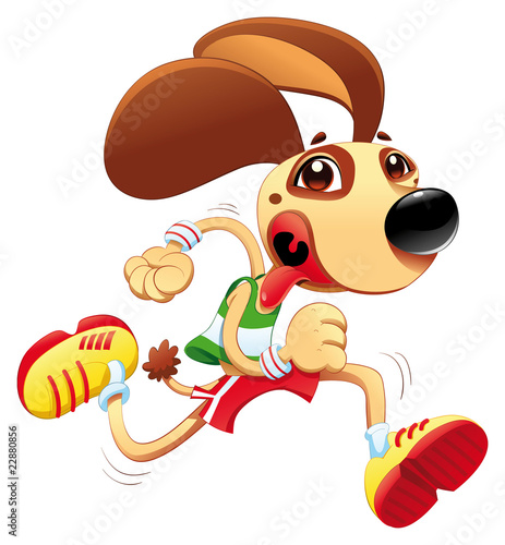 Wall Mural - Funny dog is running. Vector and cartoon character.