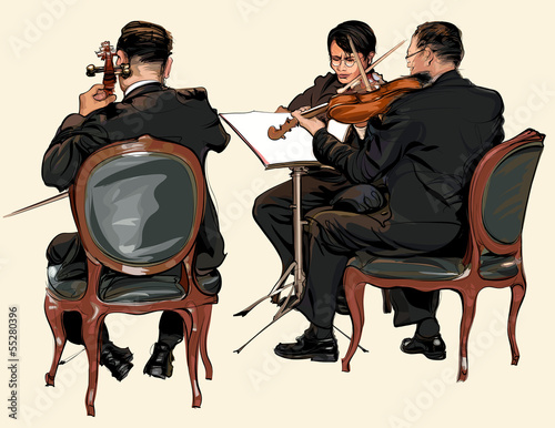 Sticker - Three musicians of classic orchestra