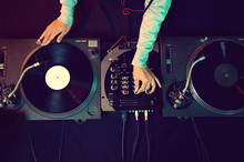 Wall Mural - dj using equipment