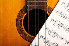 Wall Mural - Classical guitar and notes