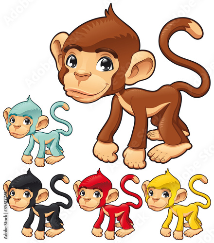 Wall Mural - Funny monkey. Vector isolated character