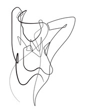 Wall Mural - Woman Stretching Her Arms Back One Continuous Line Cartoon Vector Graphic Illustration