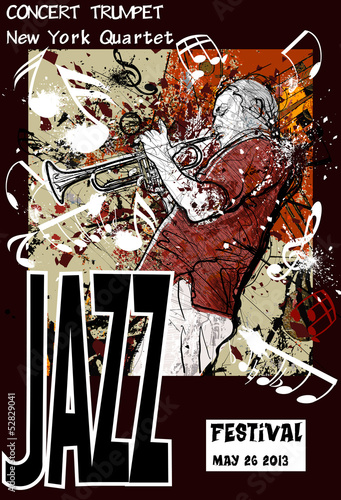 Sticker Jazz poster with trumpeter