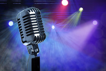 Wall Mural - Vintage microphone on stage