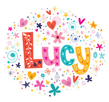 Wall Mural - Lucy female name decorative lettering type design