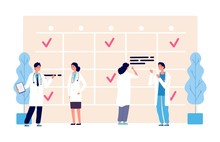 Wall Mural - Medical schedule. Doctors work schedule vector illustration. Clinic team, agenda, hospital staff characters. Medical doctor appointment, medicine schedule service