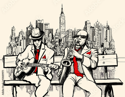 Sticker - two jazz men playing in New York
