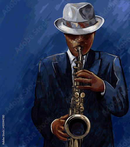 Sticker - saxophonist playing saxophone on a blue background