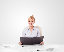Wall Mural - Young businesswoman with plain white copy space