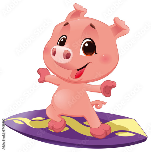 Wall Mural - Pig with surf. Vector sporty isolated character