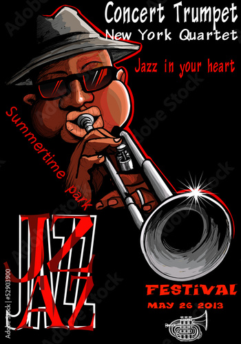 Sticker - Jazz poster with trumpeter
