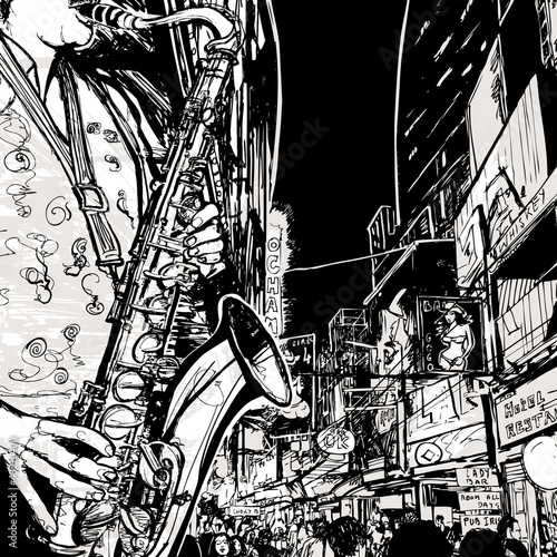 Sticker - saxophonist playing saxophone in a street