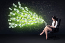 Wall Mural - Businesswoman sitting in chair holding laptop with dollar bills
