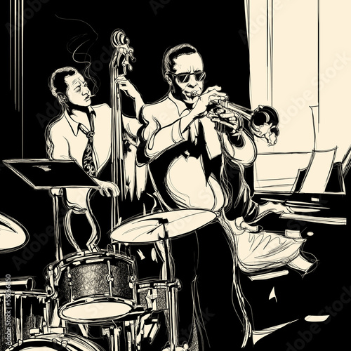 Sticker - Jazz band with double-bass trumpet piano and drum
