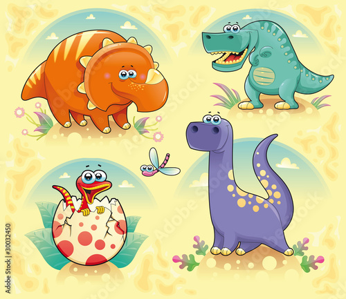 Wall Mural - Group of funny dinosaurs. Vector isolated characters