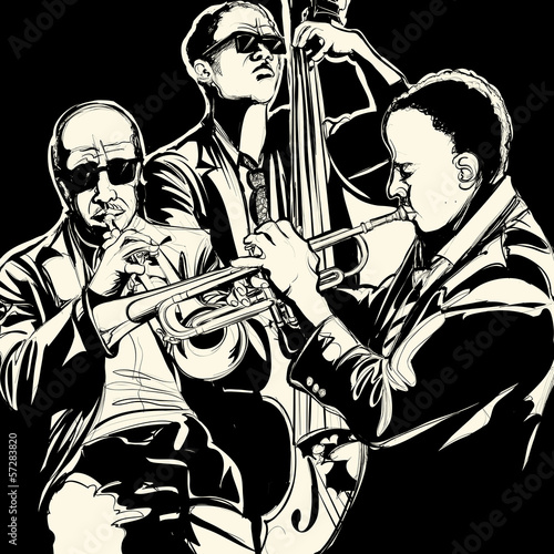 Sticker - jazz band with trumpet and double bass