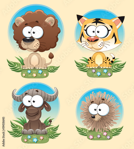 Wall Mural - Funny Animal of Africa. Cartoon and vector characters.