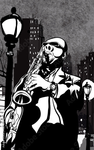 Sticker - saxophone player in a street at night