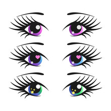 Wall Mural - Set of cartoon girl eyes. Anime vector illustration. Cute and sweet.