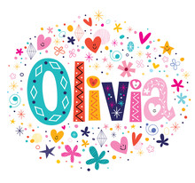 Wall Mural - Olivia female name decorative lettering type design