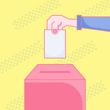 Wall Mural - Voting icon concept. Hand putting paper into the ballot box, Women voting flat design