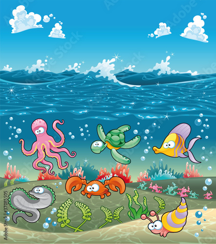Wall Mural - Marine animals under the sea. Vector illustration