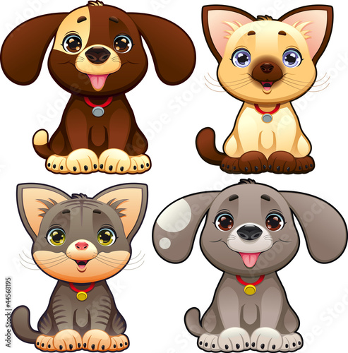 Wall Mural - Cute dogs and cats. Vector isolated characters.