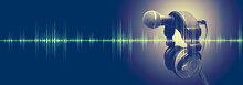 Wall Mural - Studio microphone and sound waves.Sound engineering and karaoke background.Music and radio concept banner