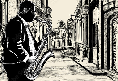 Sticker - saxophonist in a street of Cuba