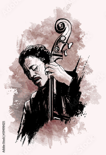 Sticker - double-bass player over grunge background
