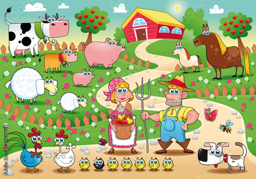 Wall Mural - Farm Family. Funny cartoon and vector illustration.