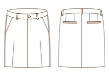 Wall Mural - Vector illustration of women s jeans skirt. Front and back views