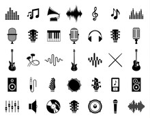 Wall Mural - Set of vector music icons isolated on white