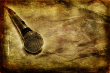 Wall Mural - Grunge music background with dynamic microphone