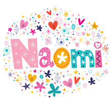 Wall Mural - Naomi female name design decorative lettering type