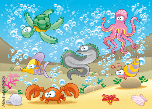 Wall Mural - Family of marine animals in the sea