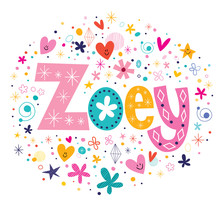 Wall Mural - Zoey female name decorative lettering type design