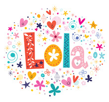 Wall Mural - Lola female name decorative lettering type design