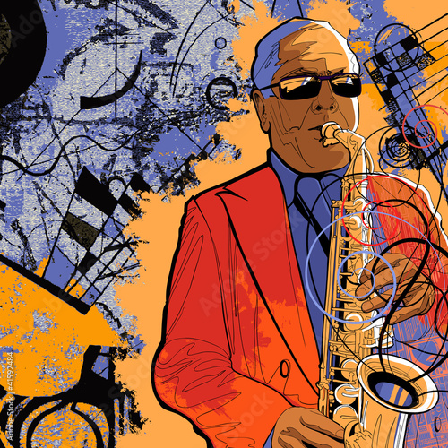 Sticker - saxophonist on a grunge background