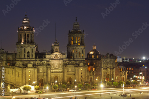 Wall Mural - zocalo in mexico city at night