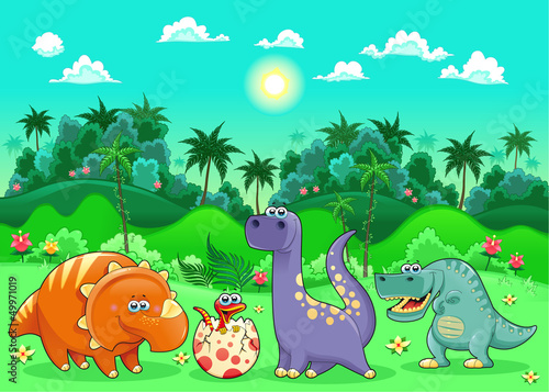 Wall Mural - Funny dinosaurs in the forest.