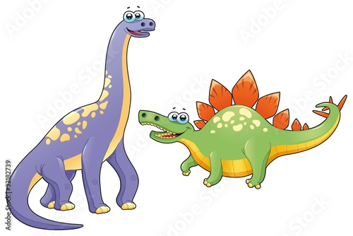 Wall Mural - Couple of funny dinosaurs. Vector isolated characters.