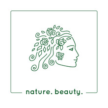 Wall Mural - Vector illustration. Young woman profile. Female face as a logo in linear style. Girl face sketch as design element for natural beauty concept. Nature