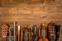 Wall Mural - instrument in wood background